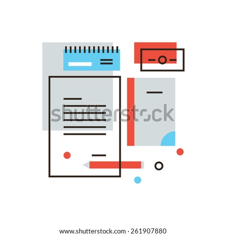 Thin line icon with flat design element of business brand, branding identity, stationery tools, office accessories, company visual style. Modern style logo vector illustration concept. - stock vector