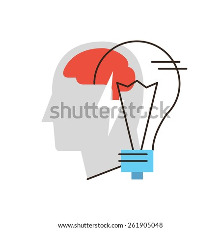 Thin line icon with flat design element of business idea, thinking person, problem solving, human brain, metaphor lightbulb, solution finding. Modern style logo vector illustration concept. - stock vector