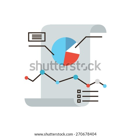 Thin line icon with flat design element of business infographics, financial paper document, company report of charts and graphs, annual data statistics. Modern style logo vector illustration concept. - stock vector