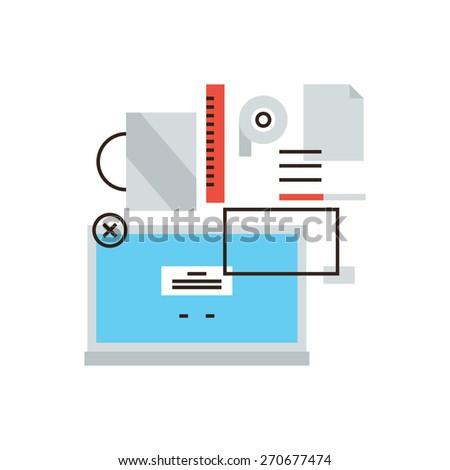 Thin line icon with flat design element of business lifestyle, office equipment, manager laptop, desk items, productive occupation workflow. Modern style logo vector illustration concept. - stock vector