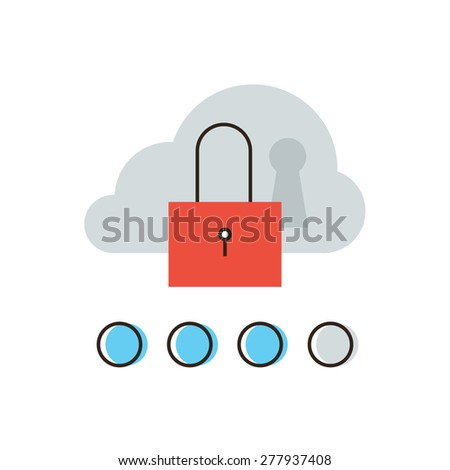 Thin line icon with flat design element of cloud computing security network, internet access to database, hosting server protection, computer system lock. Modern style logo vector illustration concept - stock vector