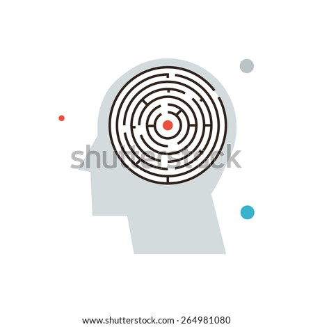 Thin line icon with flat design element of confusion in mind, maze in brain, searching solution, thinking problem, personal labyrinth. Modern style logo vector illustration concept. - stock vector