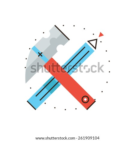 Thin line icon with flat design element of construction tools, engineering craft, building design, professional equipment, build diy, construct house. Modern style logo vector illustration concept. - stock vector