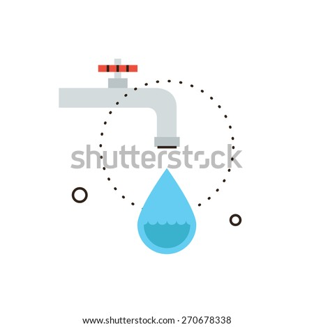 Thin line icon with flat design element of dripping tap, leaking from faucet, economy water, drop of liquid, saving environmental, plumbing service. Modern style logo vector illustration concept. - stock vector