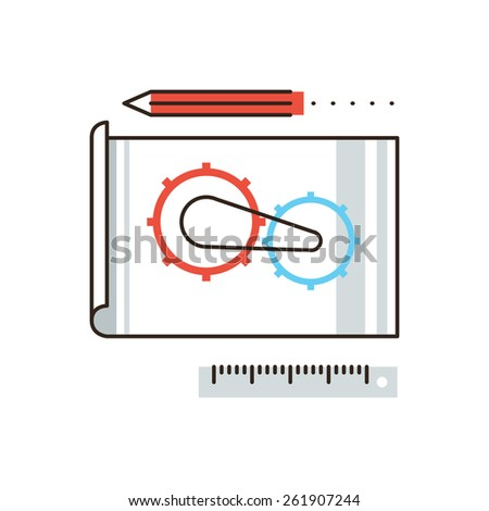 Thin line icon with flat design element of engineering construction planning, cogwheel processing, technical blueprint sketching and development. Modern style logo vector illustration concept. - stock vector