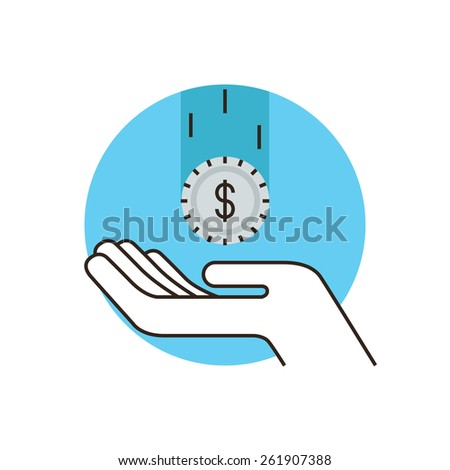 Thin line icon with flat design element of fundraiser, pay tax, received profit, capitalization of the deposit, cash income, safeguarding of assets.  Modern style logo vector illustration concept. - stock vector