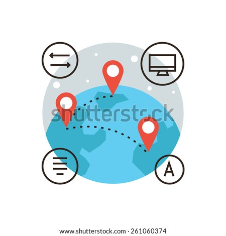 Thin line icon with flat design element of global connection, connect world, global transfer of information, travel around world, mapping globalization. Modern style logo vector illustration concept. - stock vector