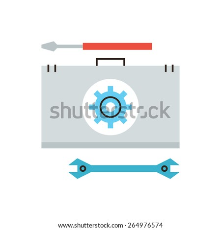 Thin line icon with flat design element of help with hardware problem, repair service, emergency maintenance, technical support, diagnostics toolbox. Modern style logo vector illustration concept. - stock vector