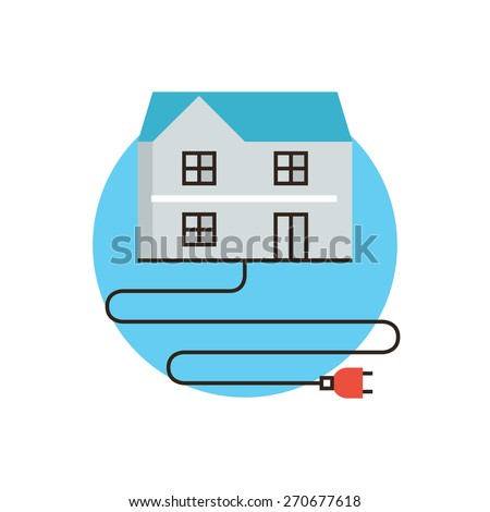 Thin line icon with flat design element of home electricity, economy energy, electric plug, high voltage cable, power consumption in house. Modern style logo vector illustration concept. - stock vector