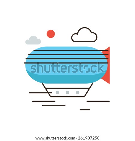 Thin line icon with flat design element of horizon discoveries, inspiring dream, exploratory mission, traveling by airship, opening unknown. Modern style logo vector illustration concept. - stock vector