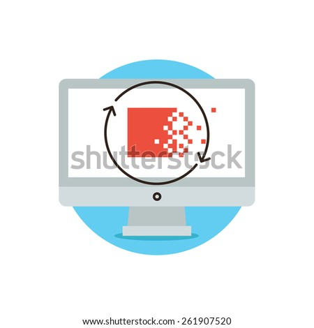 Thin line icon with flat design element of information security, data encryption, archive cryptography protection service, update system information. Modern style logo vector illustration concept. - stock vector