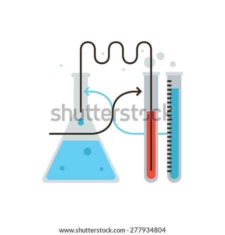 Thin line icon with flat design element of laboratory glassware, chemistry test, lab bulb, science experiment, medical reaction, biological research. Modern style logo vector illustration concept. - stock vector