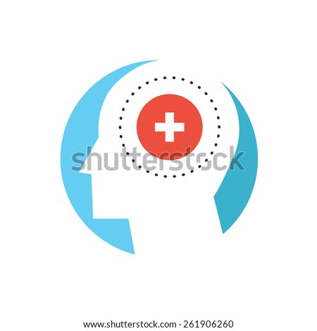 Thin line icon with flat design element of mental health, human dementia, patient psychology, disorder of mind, cure psyche, clinic insane. Modern style logo vector illustration concept. - stock vector