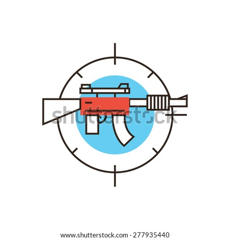Thin line icon with flat design element of military weapon gun, automatic sniper rifle, enemy sniper at sight, action game practice, target shooting. Modern style logo vector illustration concept. - stock vector