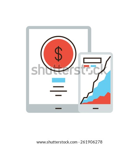 Thin line icon with flat design element of mobile banking application, online payment, preservation money, bank statistics, remote control. Modern style logo vector illustration concept. - stock vector