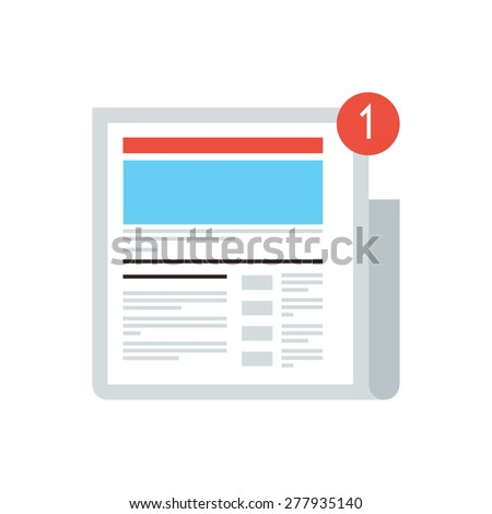 Thin line icon with flat design element of news update message mark, new digital content, social media blog, internet newspaper, latest news article. Modern style logo vector illustration concept. - stock vector