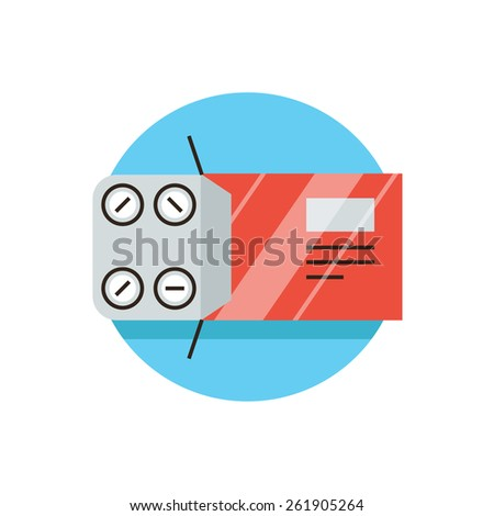 Thin line icon with flat design element of packing tablets, pharmacological medicine, painkillers, blister pack, pills aspirin, medical drugs, pharmacy. Modern style logo vector illustration concept. - stock vector