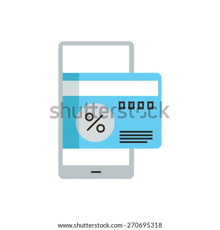 Thin line icon with flat design element of pay by credit card on smartphone, discount price for sale, mobile phone for payment, business ecommerce. Modern style logo vector illustration concept. - stock vector