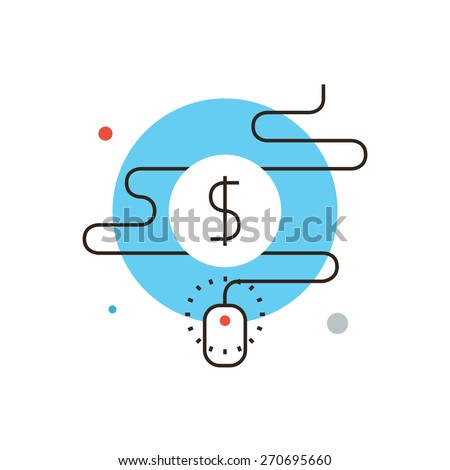 Thin line icon with flat design element of pay per click affiliate program, internet marketing commerce, quick referral traffic, advertising optimization. Modern style logo vector illustration concept - stock vector