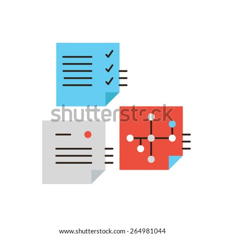 Thin line icon with flat design element of PDCA workflow planning, work flow check process, business notes, successful office schedule management. Modern style logo vector illustration concept. - stock vector