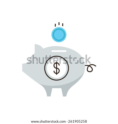 Thin line icon with flat design element of piggy bank, capital accumulation, money saving, financial management, banking reliability. Modern style logo vector illustration concept. - stock vector