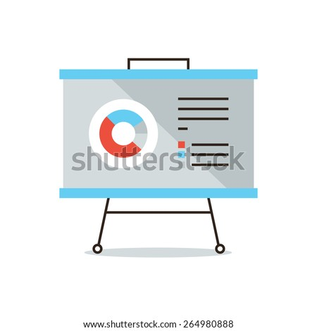 Thin line icon with flat design element of presentation infographic, market statistics, annual reporting, business chart, data analysis. Modern style logo vector illustration concept. - stock vector
