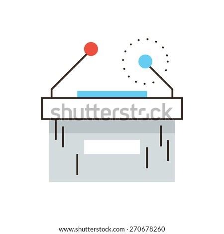 Thin line icon with flat design element of press conference table, business seminar, political campaign speech, presentation podium with microphone. Modern style logo vector illustration concept. - stock vector