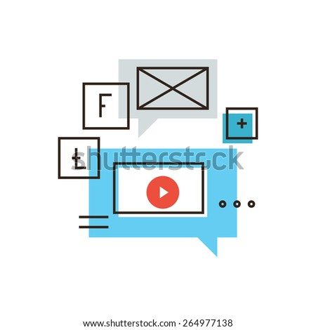 Thin line icon with flat design element of social media marketing, promotion video campaign, viral content networking, distribution of advertising. Modern style logo vector illustration concept. - stock vector