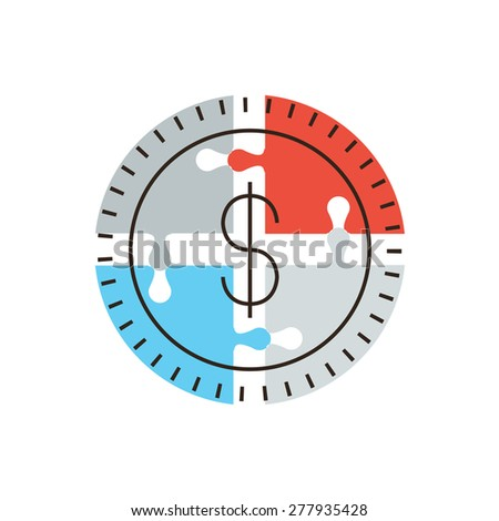 Thin line icon with flat design element of success money puzzle, business financing contribution, market funding source, collective fund. Modern style logo vector illustration concept. - stock vector