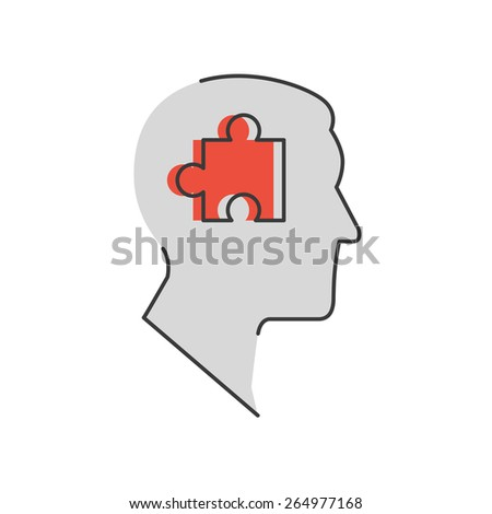 Thin line icon with flat design element of success solution, intelligence person, human brain, collect puzzle, idea in head, strategy decision. Modern style logo vector illustration concept. - stock vector