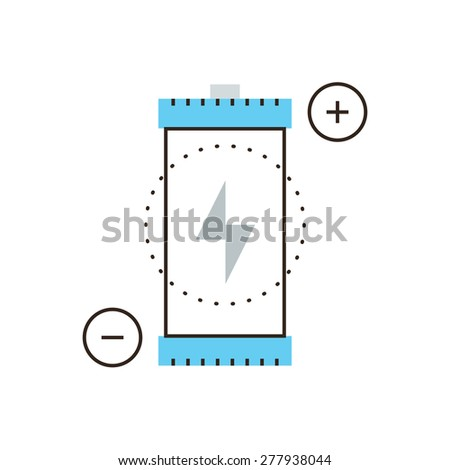 Thin line icon with flat design element of supply source, power voltage, charging battery, charge accumulator, renewable energy resource,. Modern style logo vector illustration concept. - stock vector