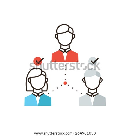 Thin line icon with flat design element of teamwork organization, group of business people, corporate management, company successful workflow. Modern style logo vector illustration concept. - stock vector