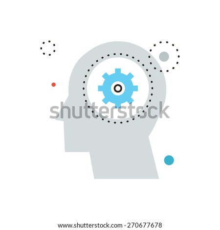 Thin line icon with flat design element of think decision, human head, gain knowledge, work of brain, process of thinking, develop mind. Modern style logo vector illustration concept. - stock vector