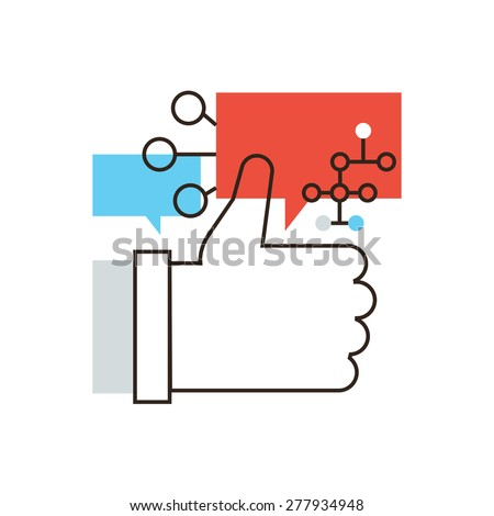 Thin line icon with flat design element of thumbs up gesture, social network information sharing, online chat with friends, speech bubble. Modern style logo vector illustration concept. - stock vector