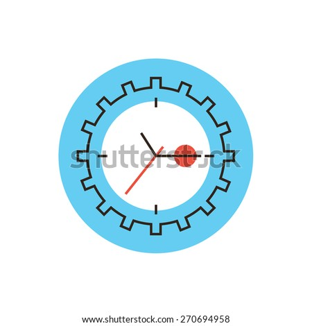 Thin line icon with flat design element of time management, business plan deadline, timeline control, timing clock, busy schedule. Modern style logo vector illustration concept. - stock vector