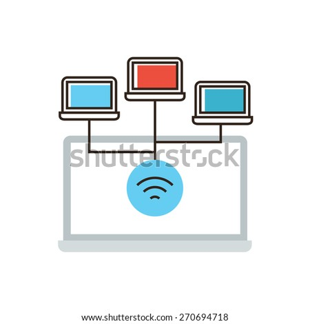 Thin line icon with flat design element of wireless network connection, computer networking, communication technology, laptop wifi connect. Modern style logo vector illustration concept. - stock vector