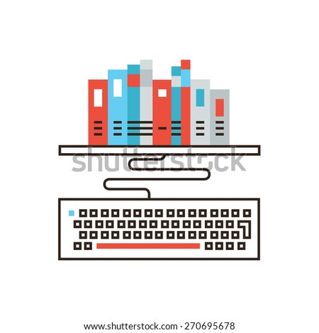 electronic publishing stock photos royalty images vectors thin line icon flat design element online library distance learning remote education