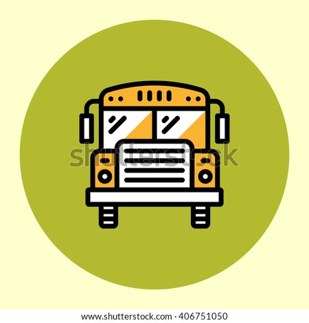 Thin Line Icon. Yellow School Bus. Simple Trendy Modern Style Round Color Vector Illustration. - stock vector