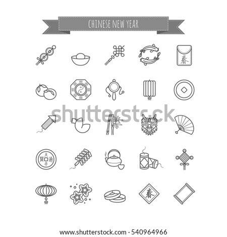 Thin Line Icons Chinese New Year Stock Vector 540964966 Shutterstock