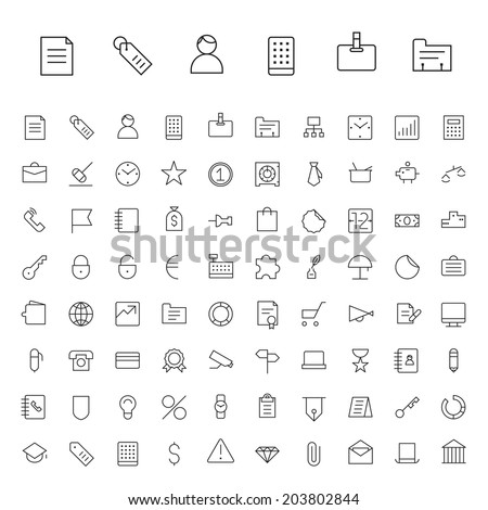 Thin Line Icons For Business and Finance. Vector eps10. - stock vector