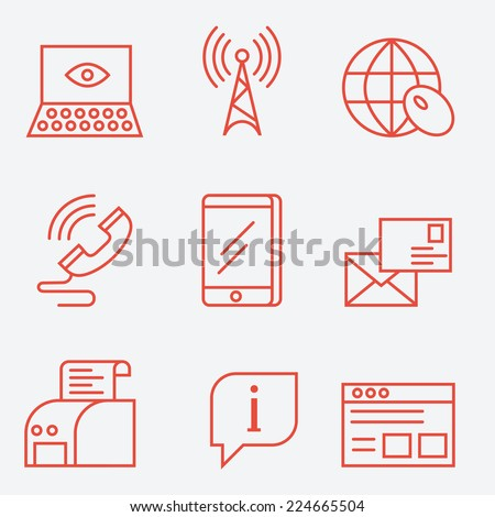 Thin line icons for communication and web, modern flat design - stock vector