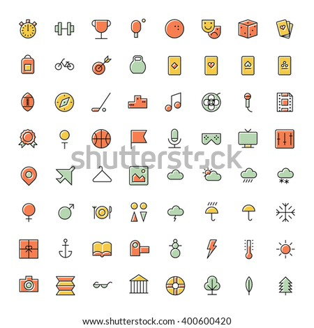 Thin line icons for leisure, travel and sport. Vector illustration. - stock vector