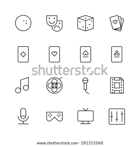 Thin Line Icons For Leisure. Vector eps10. - stock vector