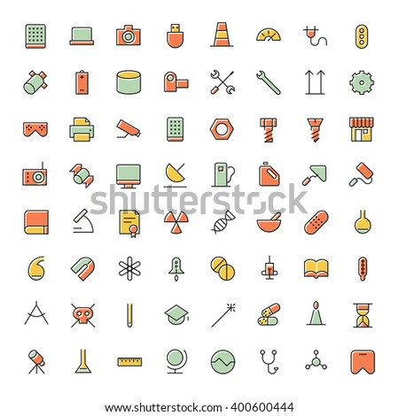 Thin line icons for science, technology and medical. Vector illustration. - stock vector