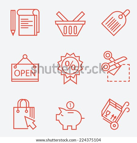 Thin line icons for shopping, finance - modern flat design - stock vector