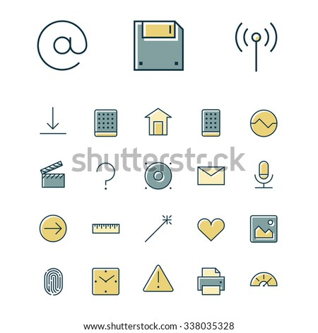 Thin line icons for user interface and technology. Vector illustration. - stock vector