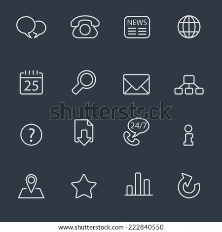 Thin line icons for web, interface and business - stock vector