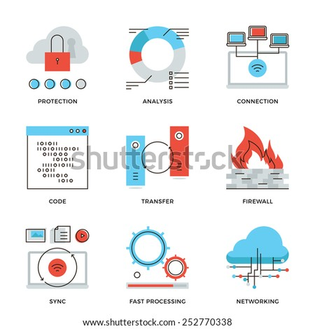 Thin line icons of cloud computing network connection, big data transfer, firewall protection, wireless communication. Modern flat line design element vector collection logo illustration concept. - stock vector