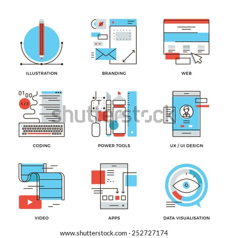 Thin line icons of creative graphic design, branding identity, mobile apps develop, UI UX user interface, website coding. Modern flat line design element vector collection logo illustration concept. - stock vector