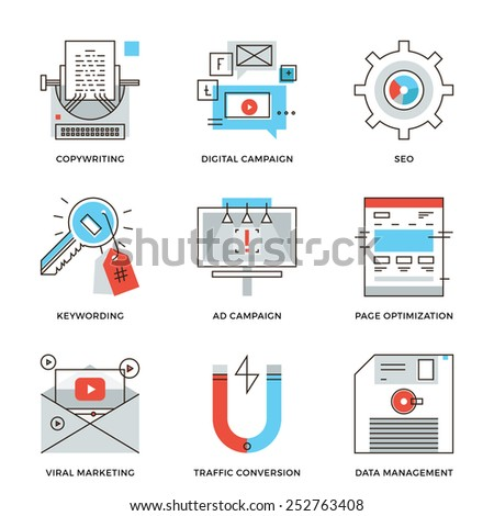 Thin line icons of digital marketing campaign, video viral advertising, text copywriting, website SEO optimization. Modern flat line design element vector collection logo illustration concept. - stock vector
